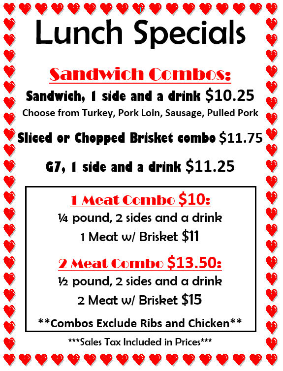 Boomtown BBQ - Lunch Specials Beaumont Tx - 2015