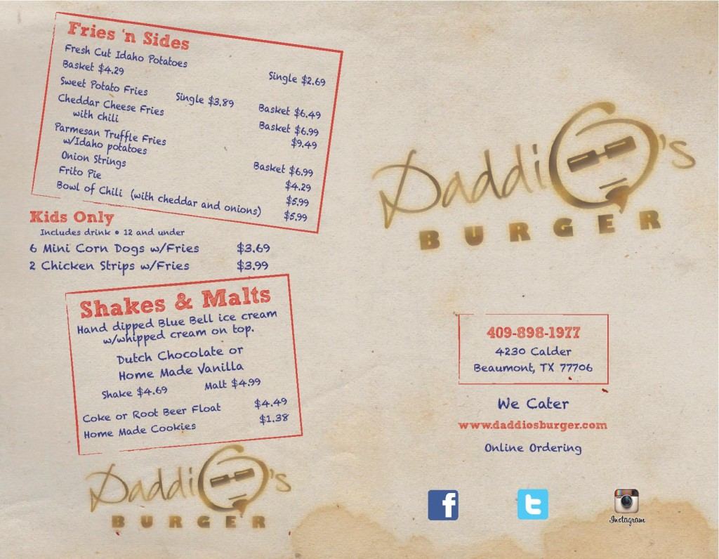 Daddio's Beaumont Menu Page 1 7-7-14