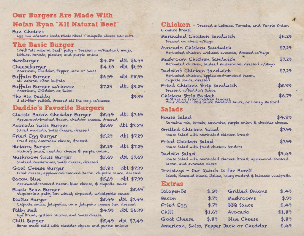 Daddio's Beaumont Menu Page 2 7-7-14