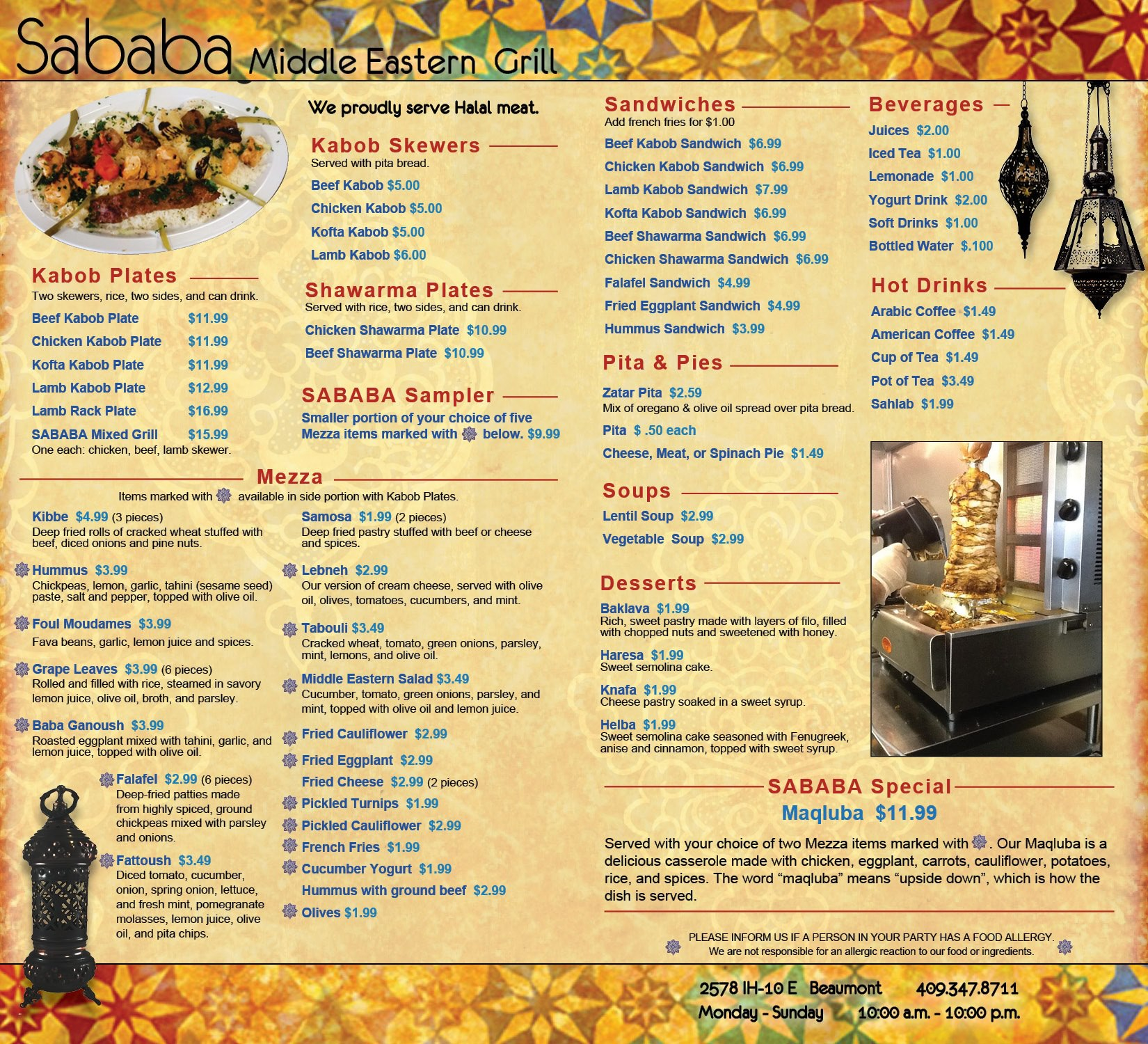 Sababa middle eastern grill beaumont eat drink setx for Arabian cuisine menu