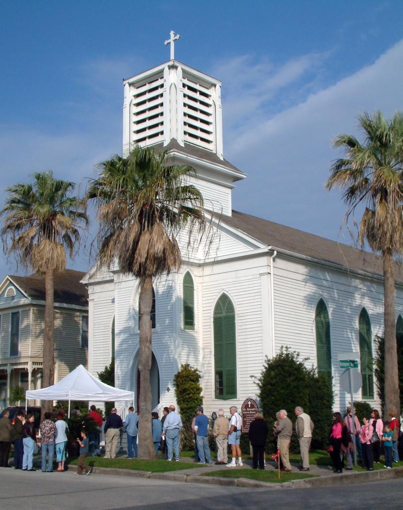 St. Joseph Church Glaveston exterior crowd