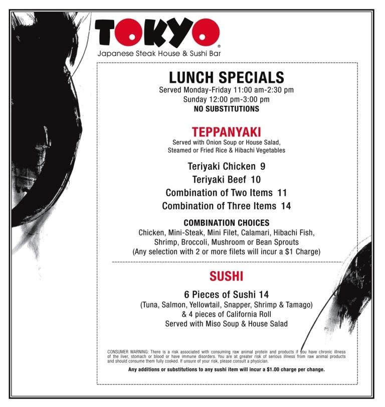 Tokyo Port Arthur Lunch Menu