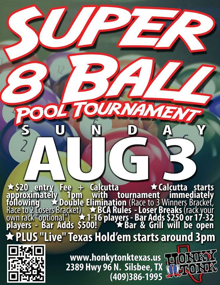 Honky Tonk Tx Silsbee Super 8 Ball Tournament Aug 3 2014