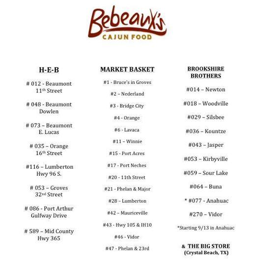 Bebeaux Cajun Food Southeast Texas  Locations