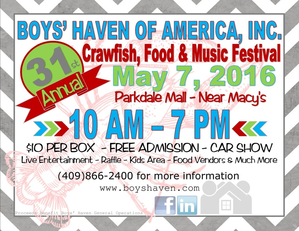 Boys Haven Crawfish Festival 2016, SETX car show, SETX live music, SETX family event, SETX kids event, SETX childrens activities