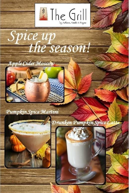 Pumpkin Spice Latte Beaumont TX, Apple Cider Moscow Mule Beaumont TX, The Grill Beaumont, The Grill drink specials Beaumont TX, happy hour Beaumont TX